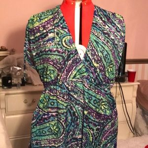 Multi colored, adjustable sleeve, beach dress